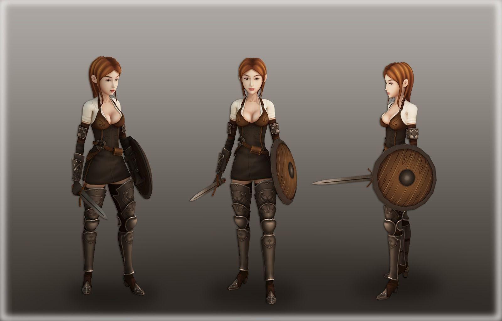 Medieval Girl Warrior Free Vr Ar Low Poly 3d Model