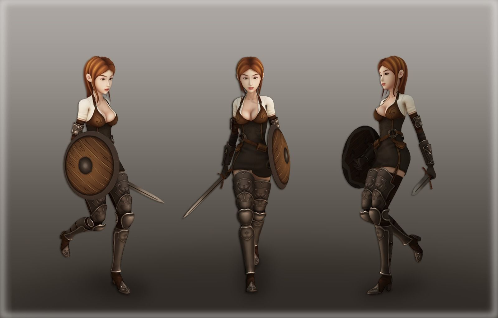3d Model Medieval Girl Warrior Vr Ar Low Poly Rigged
