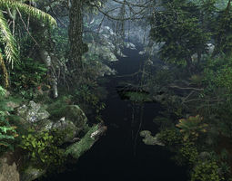 3D Forest mountain creek