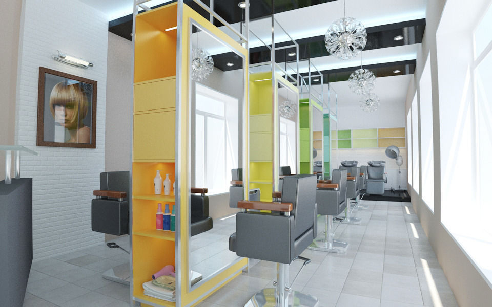 4 hair salon interior design 3d model max for 3d beauty salon games