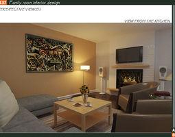 9 - Family room interior design 3D