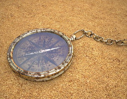 compass in sand 3d