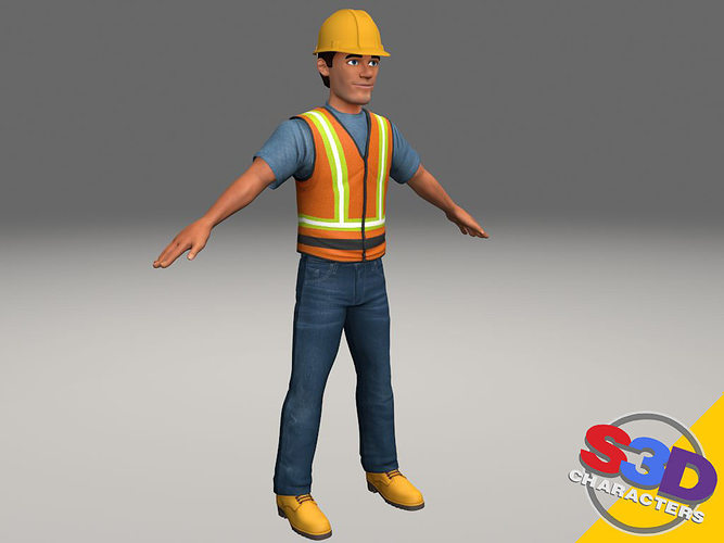 3d model construction worker 2 cgtrader