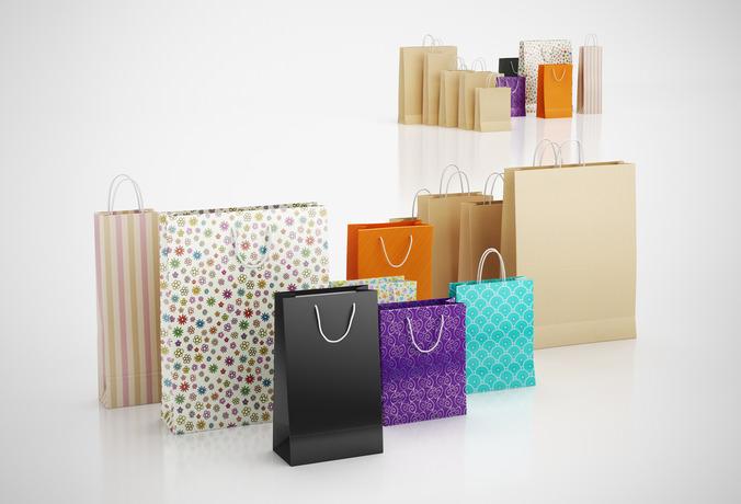 Paper shopping bags3D model