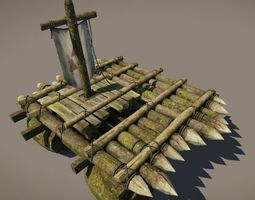 3d asset wooden raft model game-ready