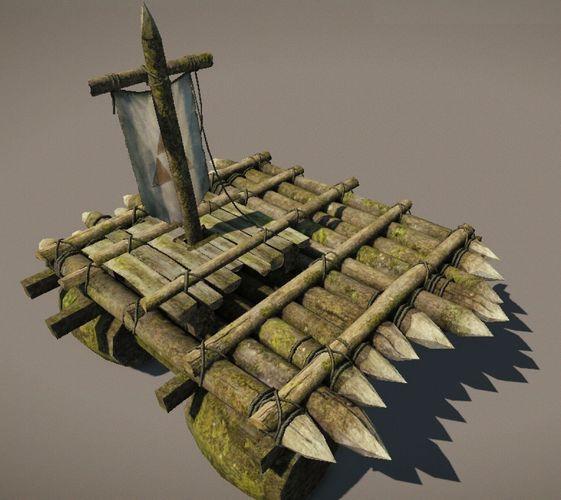Wooden Raft model3D model