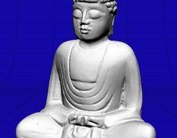 Small Wooden Buddha Statue 3D
