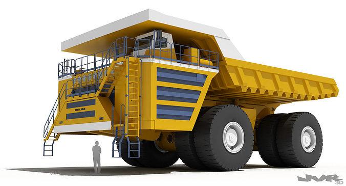 belaz 75710 mining truck 3d model max obj 3ds fbx mtl pdf 1