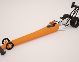 3D asset Top Fuel Dragster Low Poly