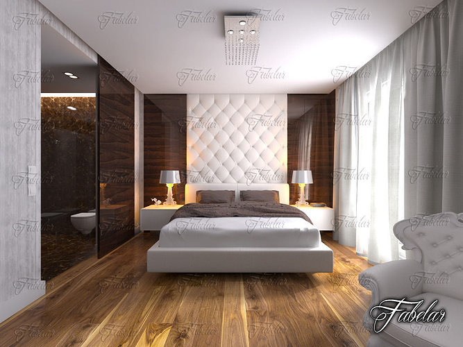bedroom 12 and bath 3d model max obj 3ds fbx c4d dae 1