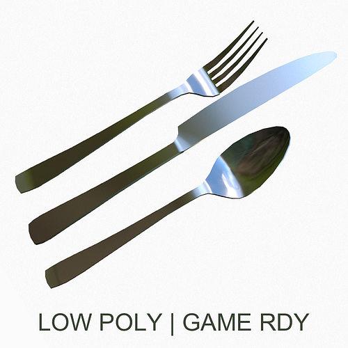 silverware set 3d model low-poly obj fbx 1
