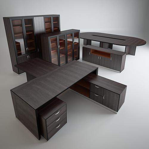 A Set Of Office Furniture 3d Model, Office Furniture Set