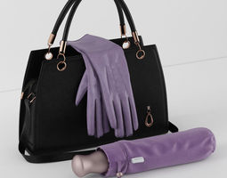 handbag umbrella gloves 3d