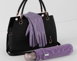 handbag umbrella gloves 3d model