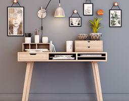 Desk with decorative set 3D model