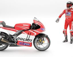 3d asset rigged ducati with rider game-ready