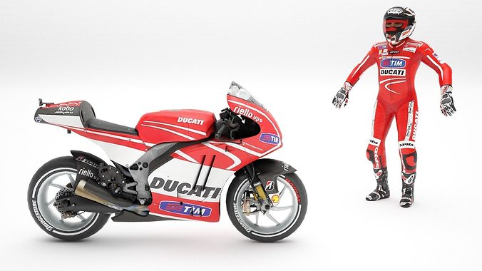 ducati with rider 3d model low-poly rigged max obj mtl fbx dae 1