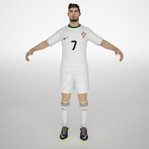 cristiano ronaldo  3d model low-poly rigged animated max obj mtl fbx dae 1