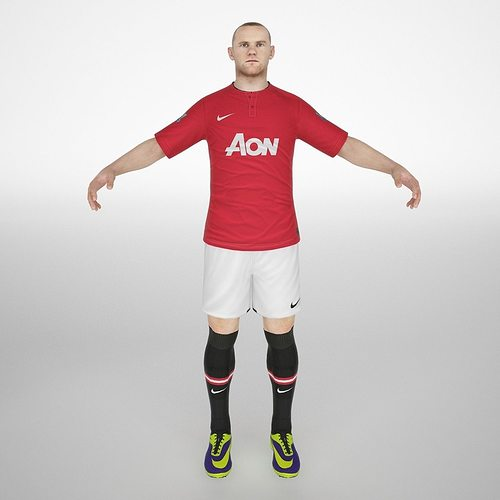 wayne rooney 3d model low-poly rigged animated max obj mtl fbx dae 1