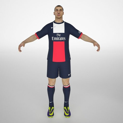 zlatan ibrahimovic rigged 3d model low-poly rigged animated max obj mtl fbx ma mb dae 1