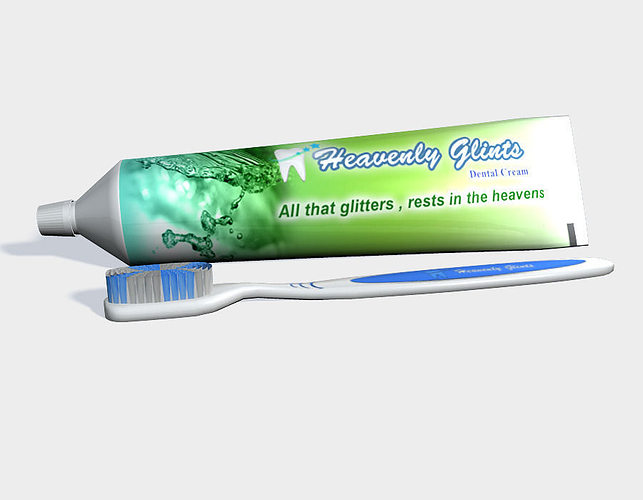 tooth paste and brush 3d model obj fbx ma mb mtl 1