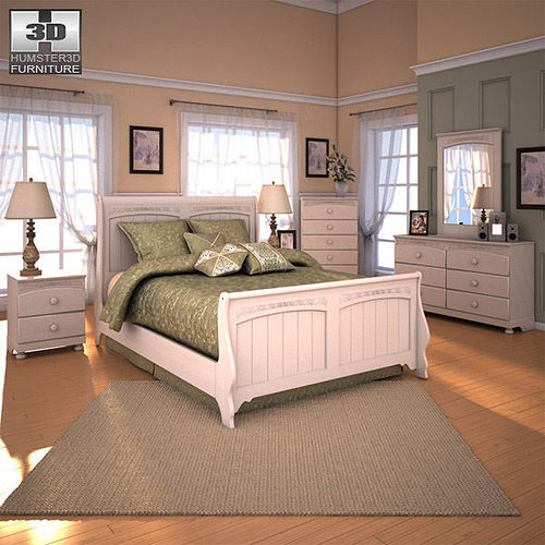 3d model ashley cottage retreat sleigh bedroom set vr ar low poly max obj 3ds fbx c4d lwo lw lws Cottage retreat bedroom set