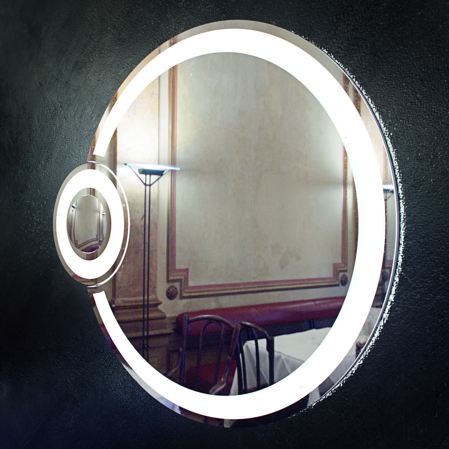 round bathroom mirror with lights bathroom mirror with light eclipse free 3d model 24069
