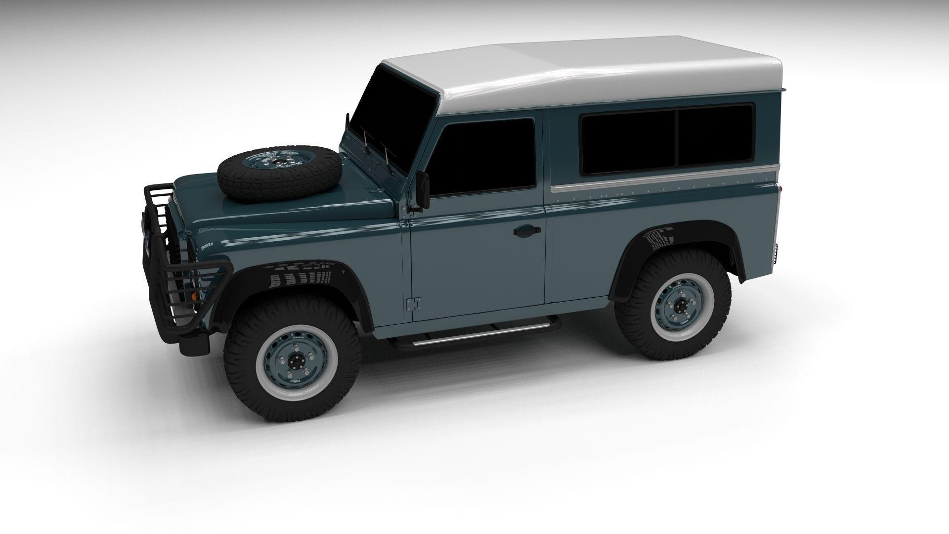 land rover defender 90 station wagon 3d model obj fbx. Black Bedroom Furniture Sets. Home Design Ideas