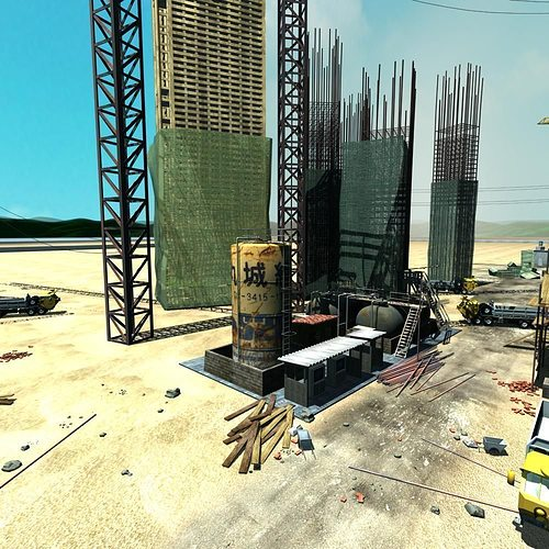 construction  site 3d model max tga 1