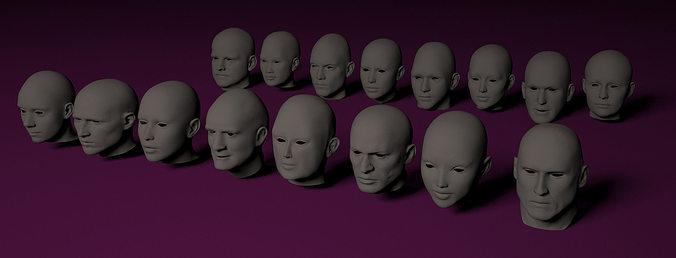 human heads 3d model max obj mtl 3ds fbx c4d stl 1