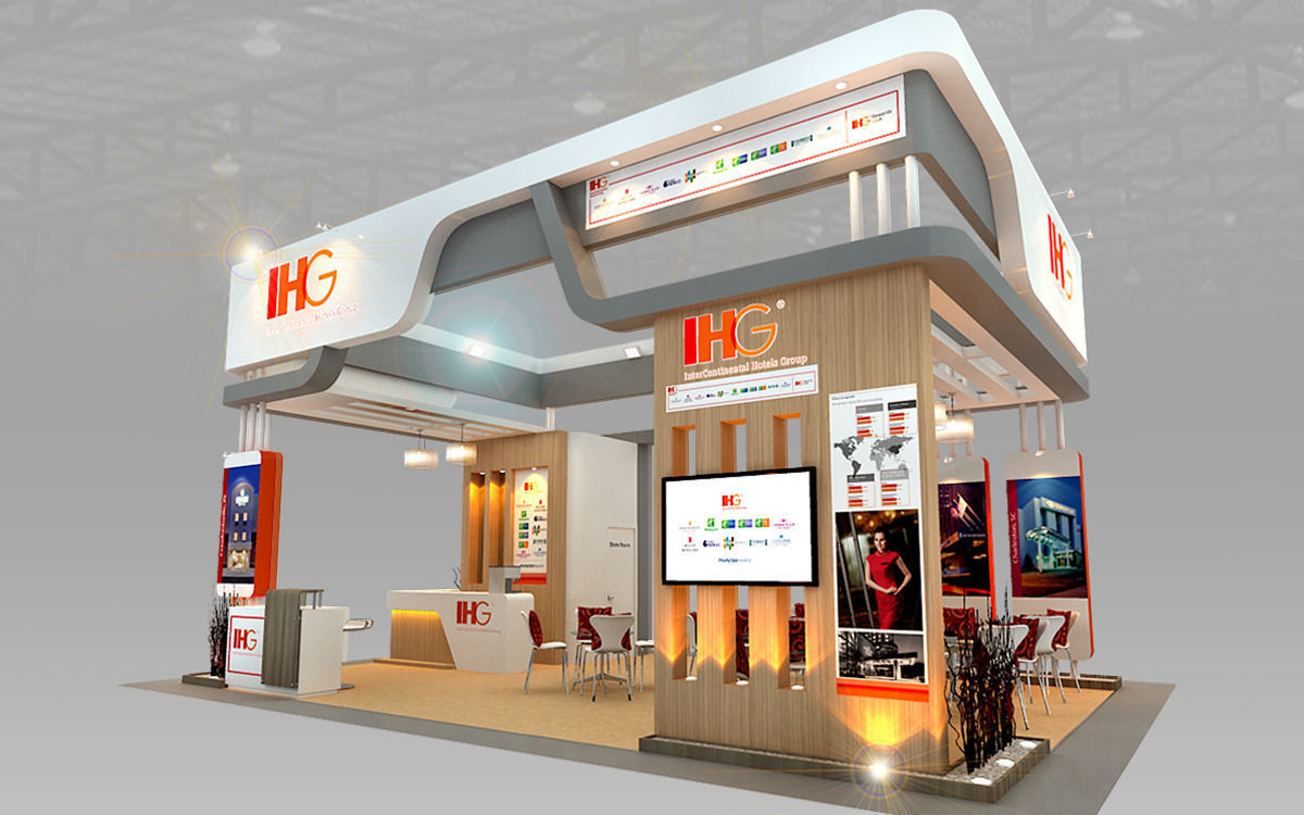 Free 3d Exhibition Stand Design : Ihg hotel booth design d model max ds cgtrader