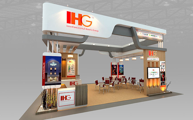 Exhibition Stall Hire : D ihg hotel booth design cgtrader