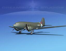 rigged 3d douglas c-47 dakota raaf