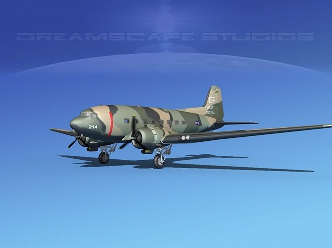 douglas c-47 dakota usaf v06 3d model rigged max obj 3ds lwo lw lws dxf stl 1