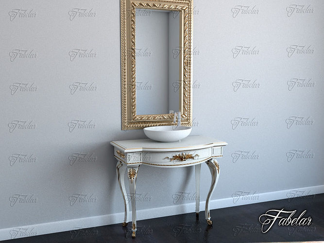 3d Bath Cabinet 01 And Mirror Cgtrader