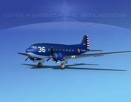 3D model Douglas R-4D Dakota US Navy V1