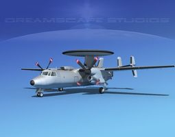 Grumman E-2C Hawkeye Bare Metal 3D Model