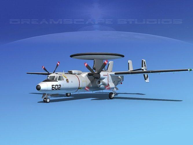 grumman e-2c hawkeye v06 3d model animated max obj mtl 3ds lwo lw lws dxf stl 1