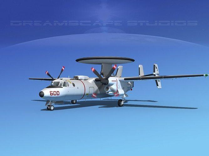 grumman e-2c hawkeye v08 3d model animated max obj mtl 3ds lwo lw lws dxf stl 1