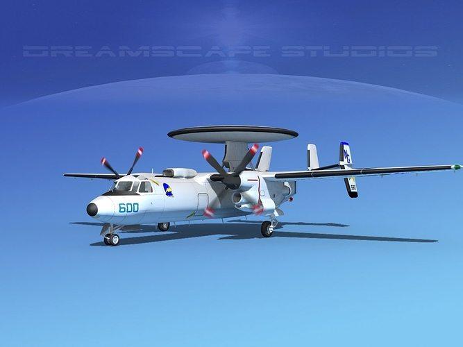 grumman e-2c hawkeye v16 3d model animated max obj mtl 3ds lwo lw lws dxf stl 1