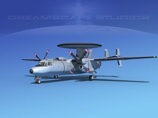 grumman e-2c hawkeye v18 3d model animated max obj mtl 3ds lwo lw lws dxf stl 1