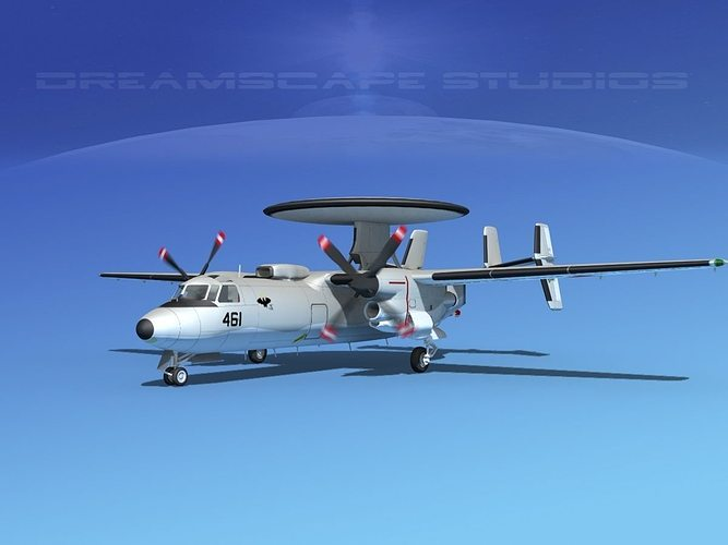 grumman e-2c hawkeye v19 3d model animated max obj mtl 3ds lwo lw lws dxf stl 1