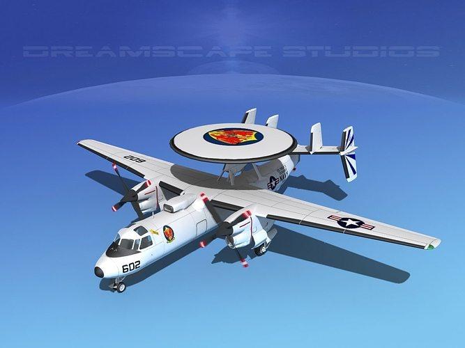 grumman e-2c hawkeye v20 3d model animated max obj mtl 3ds lwo lw lws dxf stl 1