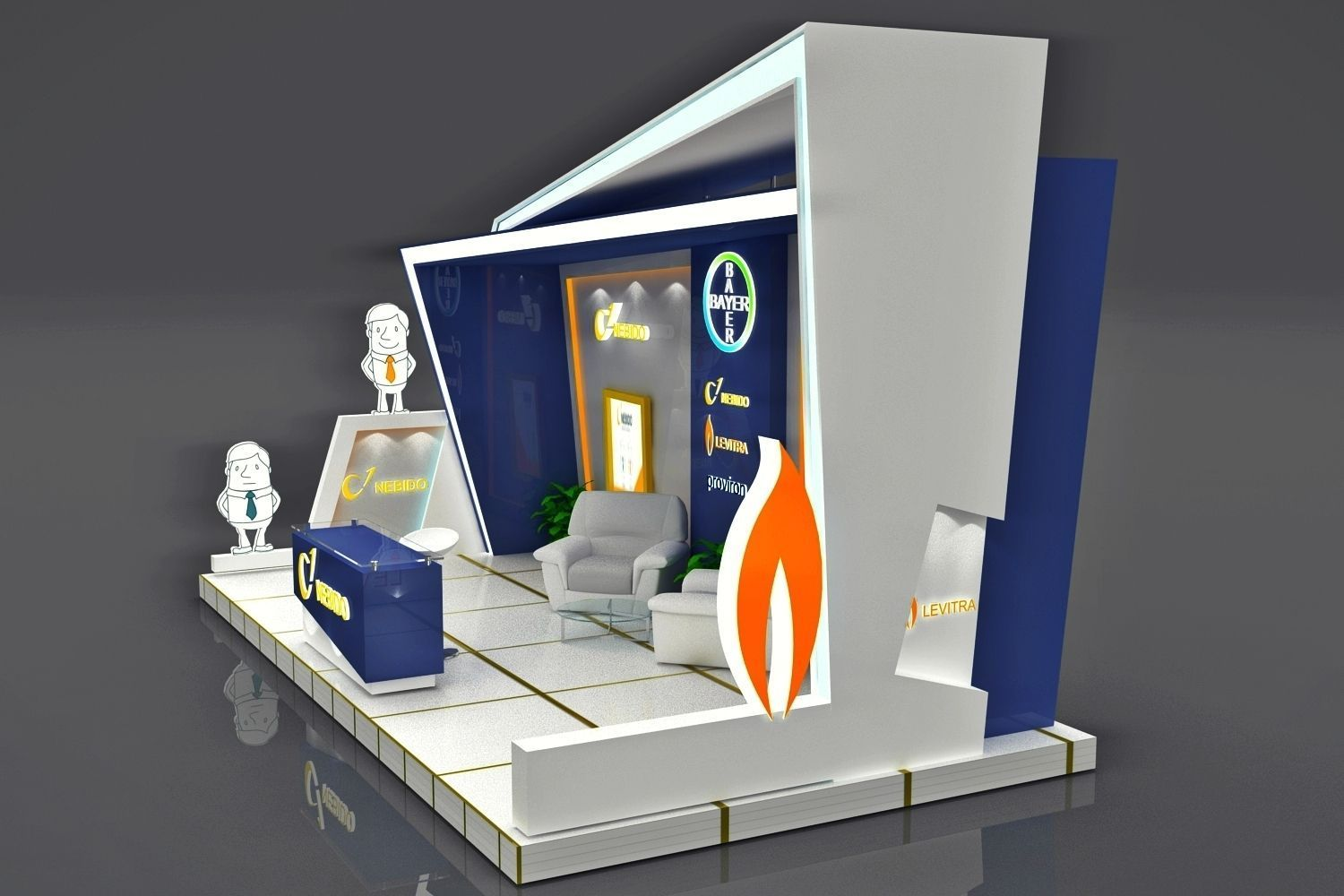 Exhibition Booth Obj : Exhibition booth d model rigged max obj mtl cgtrader