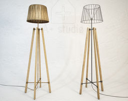 wood wire floor lamp 3d model