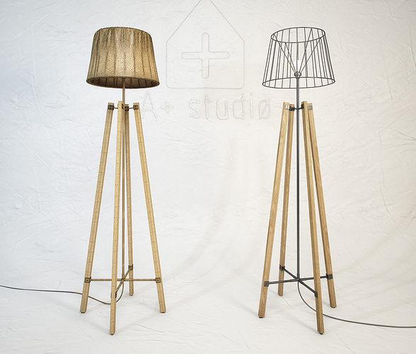 wood wire floor lamp 3d model max obj mtl fbx unitypackage prefab 1