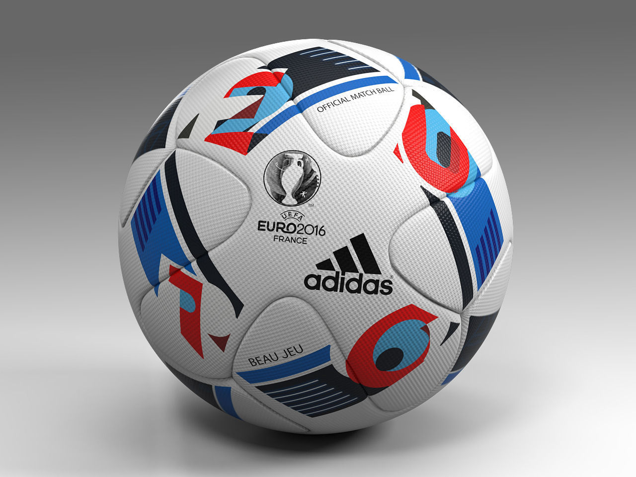 3d model euro 2016 adidas beau jeu official ball uefa vr. Black Bedroom Furniture Sets. Home Design Ideas