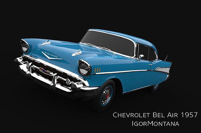 chevrolet bel air 1957 3d model max obj mtl 3ds fbx dae 1
