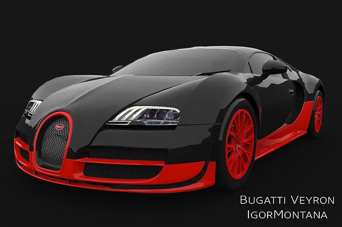 bugatti veyron super sport 3d model low-poly max obj mtl 3ds fbx dae 1