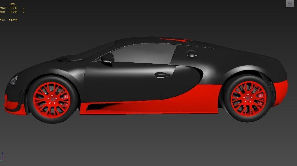 bugatti veyron super sport 3d model game ready max obj 3ds fbx dae. Black Bedroom Furniture Sets. Home Design Ideas